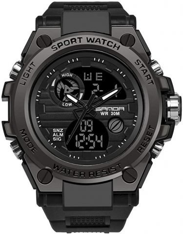 Men's Digital Sports Watch, Multi-Functions Dual-Display Tactical Watch for Men with Backlight